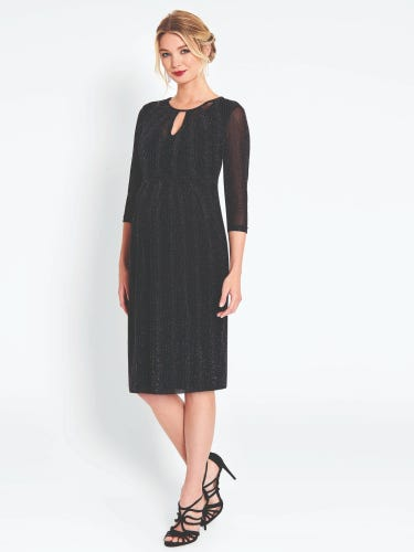 Black Sparkle Maternity & Nursing Keyhole Dress