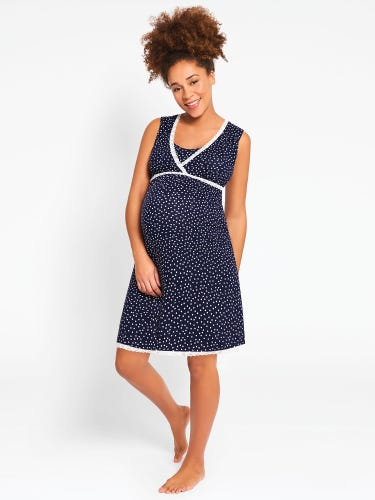 Navy Spot Wrap Maternity & Nursing Nightdress