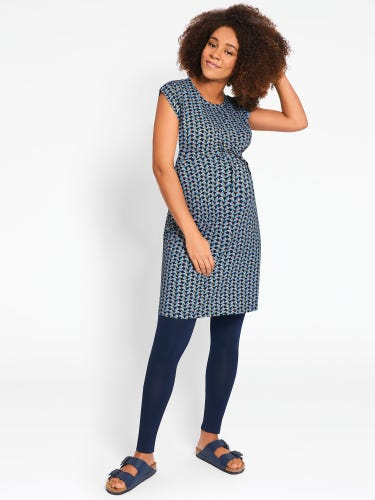 Geo Print Maternity & Nursing Drawstring Tunic Dress