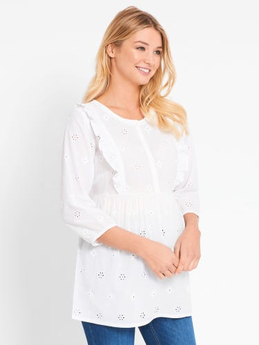 White Broderie Maternity Blouse