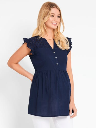 Broderie Detail Maternity Blouse