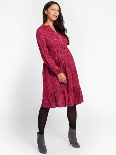 Wine Leaf Print Maternity Smock Dress