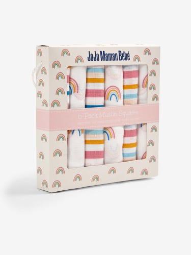 6-Pack Pink Rainbow Muslins