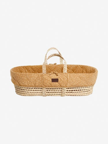 The Little Green Sheep Natural Quilted Moses Basket & Mattress Honey Rice