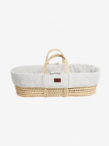The Little Green Sheep Natural Quilted Moses Basket & Mattress Dove Rice