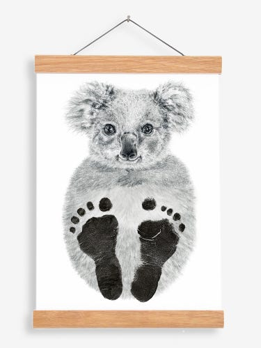 Lucy Coggle Personalised Baby Koala Footprint Kit with Hanging Frame