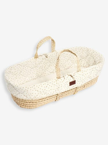 The Little Green Sheep Natural Quilted Moses Basket & Mattress Linen Rice