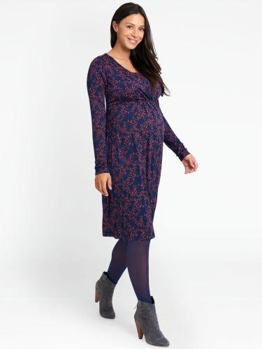 Navy Leaf Print Maternity & Nursing Wrap Dress