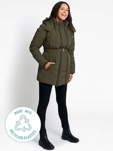 Khaki 2-in-1 Maternity Puffer Jacket