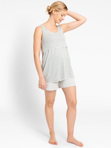 Grey Marl Maternity & Nursing Short Pyjama Set