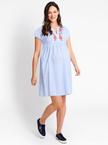 Blue Ticking Stripe Embroidered Maternity Dress