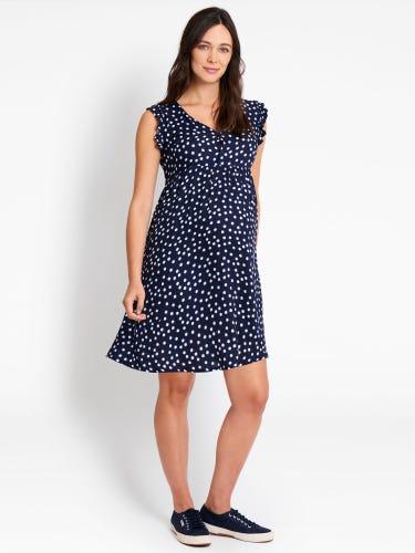 Navy Spot Print Maternity Summer Dress