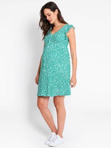 Green Ditsy Print Maternity Summer Dress