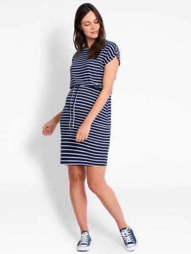 Navy Breton Stripe Maternity & Nursing Dress