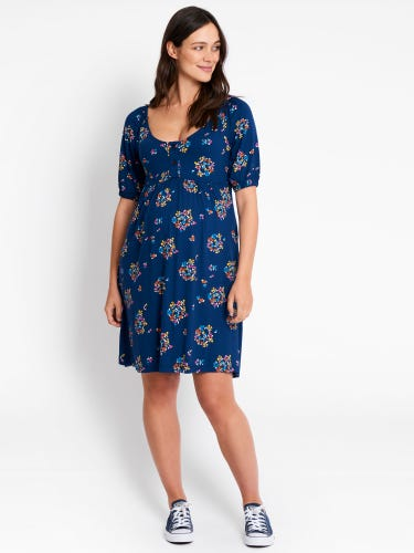 Navy Floral Scoop Neck Maternity Tunic Dress