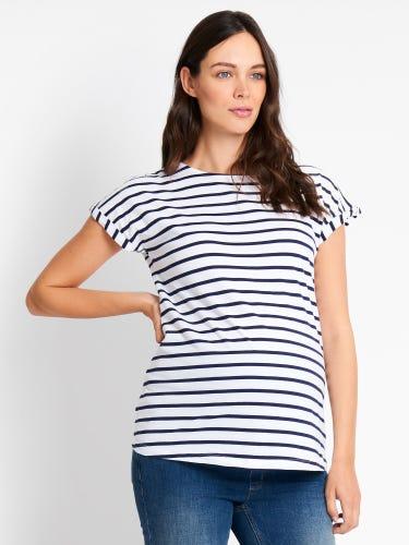 White & Navy Stripe Boyfriend Maternity T-Shirt