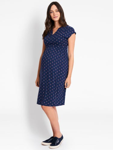 Navy Bud Print Maternity & Nursing Dress