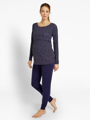 Navy Spot Maternity & Nursing Pyjama Set