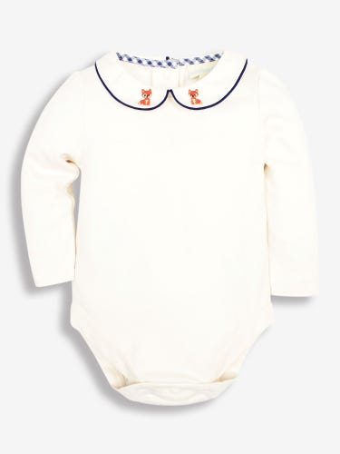 Fox Embroidered Collar Baby Bodysuit