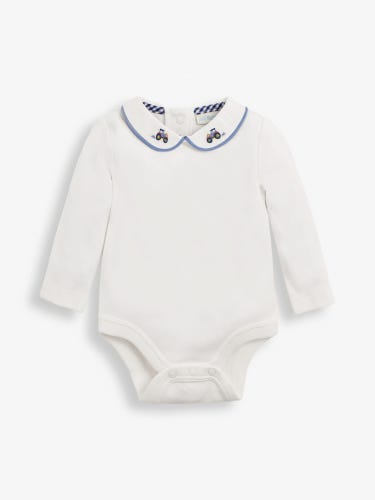 Tractor Embroidered Collar Baby Bodysuit
