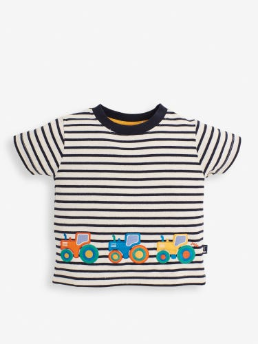 Kids' Breton Stripe Tractors Appliqué T-Shirt