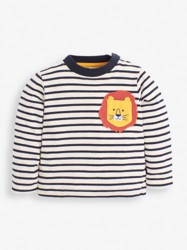 Kids' Navy Stripe Lion Pocket Top