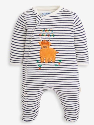 Navy Stripe Highland Cow Appliqué Zip Baby Sleepsuit
