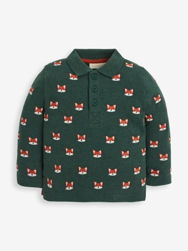 Green Fox Embroidered Long Sleeved Polo Shirt