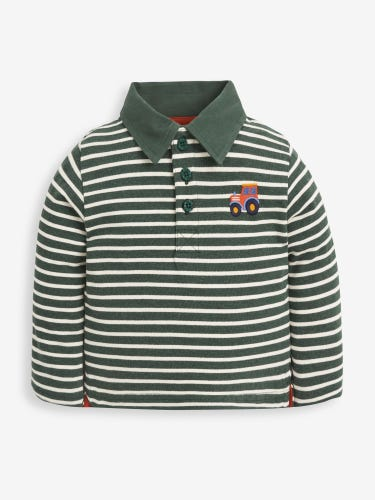 Kids' Green Stripe Tractor Polo Shirt