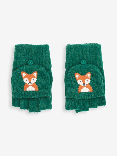 Green Fox Embroidered Gloves