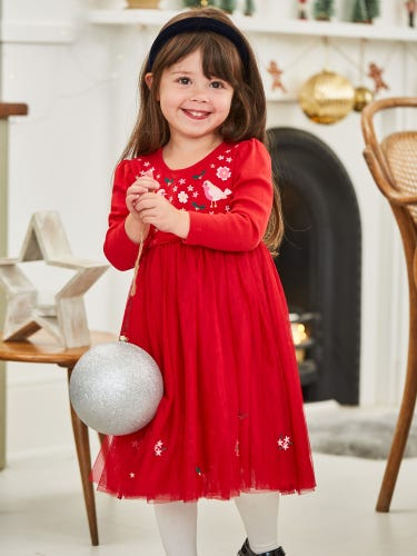 Girls' Red Robin Tulle Party Dress