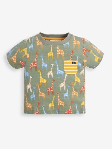 Kids' Khaki Giraffe Print T-Shirt