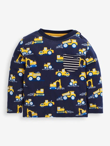 Kids' Navy Digger Print Top