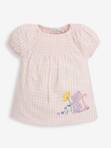 Girls' Mouse Appliqué Smocked Top