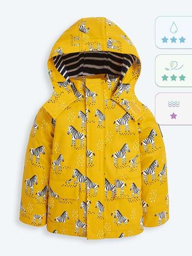 Kids' Mustard Zebra Print Waterproof Jacket