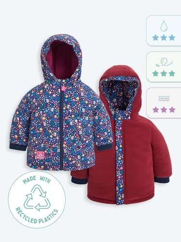 Woodland Print Reversible Fleece Lined Jacket