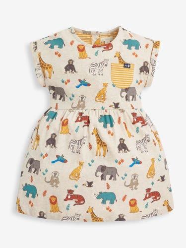 Girls' Safari Jersey Dress with Pockets