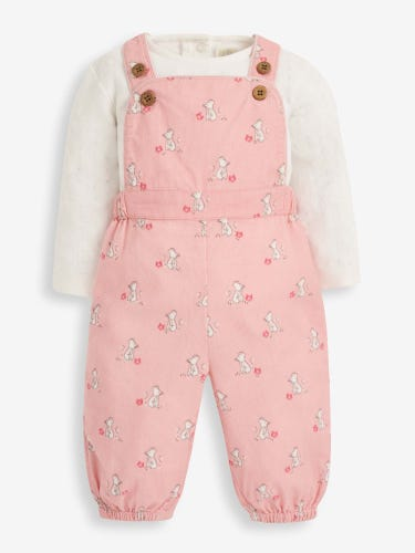 2-Piece Pink Mouse Cord Baby Dungarees Set
