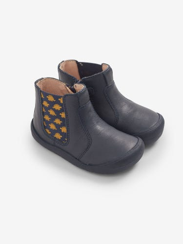 Start-Rite Navy Dino Leather Boots