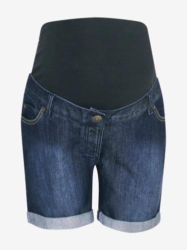 Mid Wash Denim Maternity Shorts