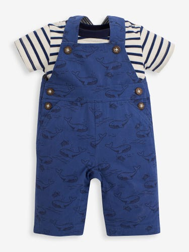 2-Piece Indigo Whale & Turtle Print Baby Dungarees Set