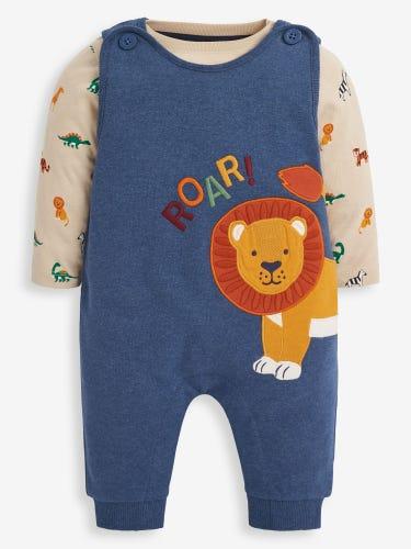 2-Piece Lion Jersey Baby Dungarees Set