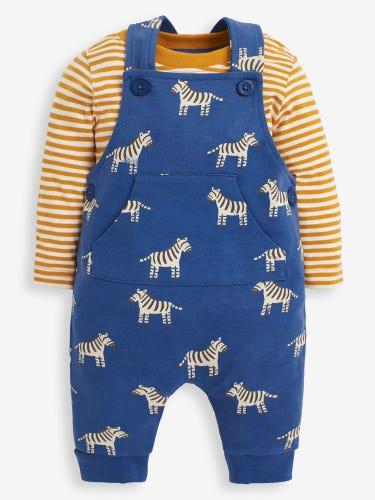 2-Piece Indigo Zebra Print Baby Dungarees Set