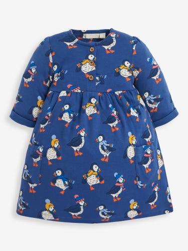 Girls' Puffin Print Pet In Pocket Dress