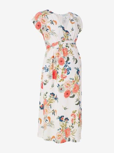 Floral Midi Maternity Wrap Dress