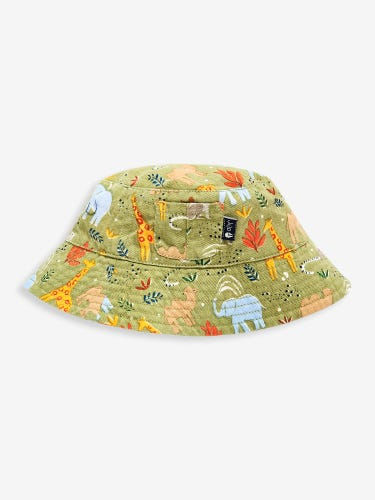 Khaki Safari Print Twill Bucket Sun Hat