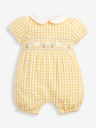 Lemon Duck Embroidered Smocked Baby Romper