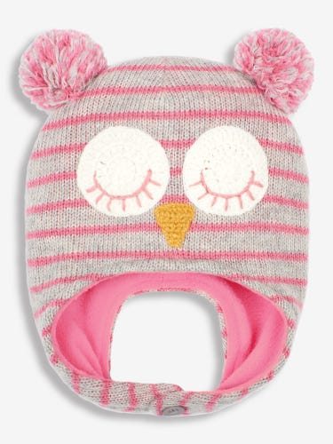 Pink & Grey Owl Hat