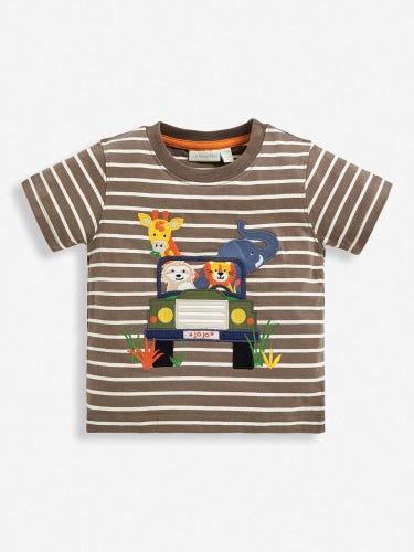 Kids' Mocha Jeep Appliqué T-Shirt