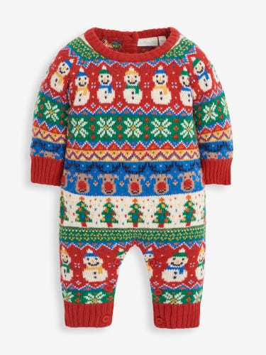 Christmas Fair Isle Knitted Baby All-In-One